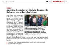 25.09.19-Le Progrès-La plasticienne Emmanuelle Radzyner au milieu des sculpteurs écullois